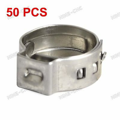 "50pcs 3/8"" PEX 304 Stainless Steel Clamp Cinch Ring Crimp Pinch Fitting Tubing"