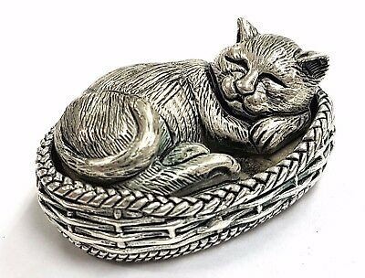 Antique Victorian Style Sleeping Cat In Basket Figurine 925 Silver Plate