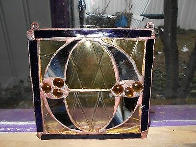 """Stained Glass Window Panel Suncatcher  Art Letter """"o"""" One Of A Kind"""