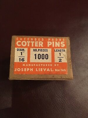 "cotter pins, 1/16"" diameter, 1/2"" length (box of 1000) new in original box - old"
