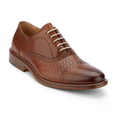 G.H. Bass & Co. Men's Cole Genuine Woven Leather Cap Toe Oxford Shoe Brown
