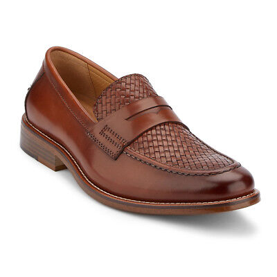 G.H. Bass & Co. Men's Charles Genuine Woven Leather Penny Loafer Shoe Brown
