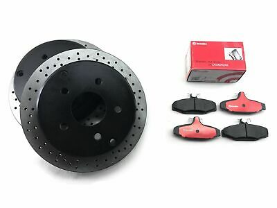 Rear Brembo Brake Pads + Cross Drilled Disc Rotors for HOLDEN COMMODORE