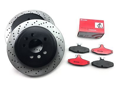 Rear Brembo Brake Pads + Cross Drilled Disc Rotors for FORD FAIRLANE FALCON