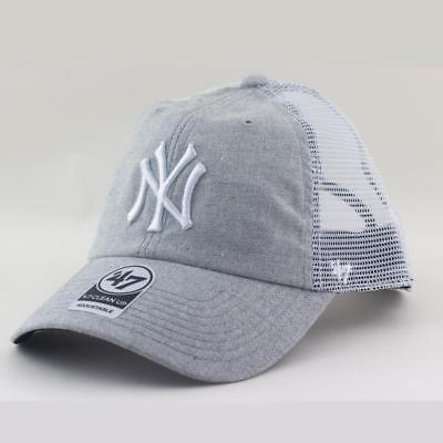 New York Yankees MLB Supporters Trucker Hat Vaughn Cap From 47 Brand In Grey