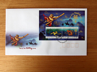 CHRISTMAS IS 2004 - Year of the MONKEY mini sheet First Day Cover
