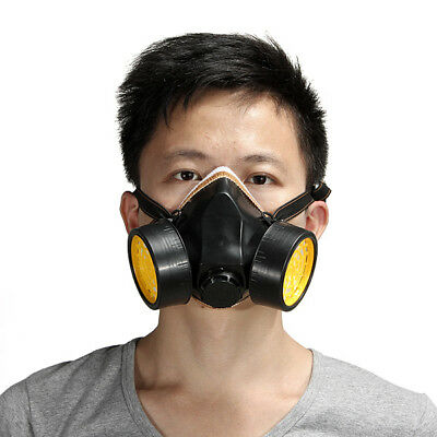 Industrial Spray Paint Chemical Anti-Dust Gas Mask Respirator 2 Cartridge Filter