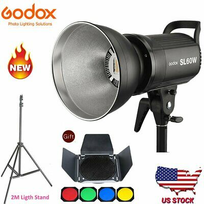US Godox SL-60W  LED Video Continuous Light +Barn Door Honeycomb Grid+2m Stand