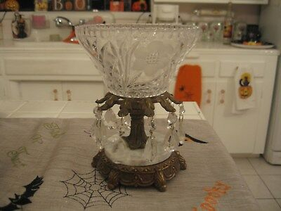 Beautiful Hollywood Regency Cut Crystal Candy Dish Centerpiece Bowl Marble Base