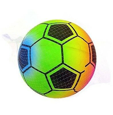 (( Pack of 3 )) x Rainbow Soccer Ball 22cm (8 and 1/2 Inch) - Children's Neon