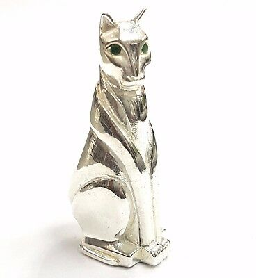 Antique Art Deco Style Standing Cat Emerald Eyes Figurine 925 Silver Plate