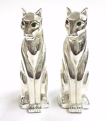 Pair Of Art Deco Style Standing Cat Figurine Emerald Eyes 925 Silver Plate