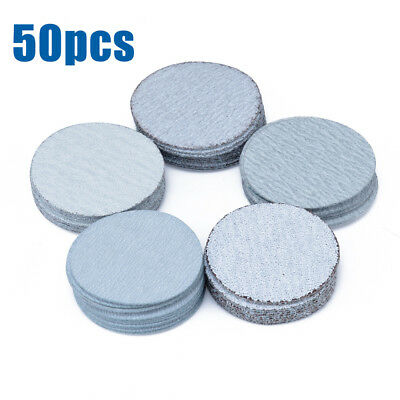 50x 2'' 50mm Sanding Disc Hook and Loop Pack of 50 mixed 60 120 180 240 400 Grit