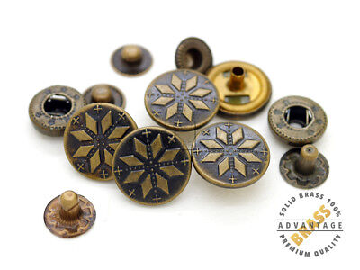 10sets Antique Brass Bohemian Fasteners Popper Snaps Closure Snowflake Buttons