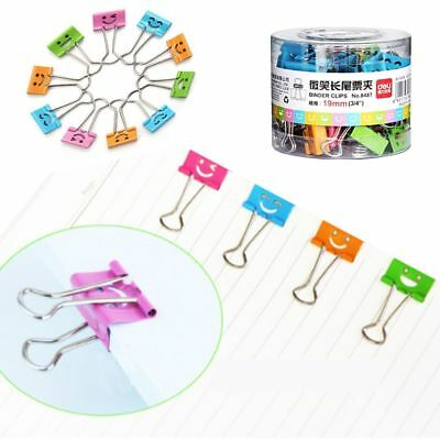 40Pcs/box Common Smile Cute Metal Binder Clips for Home Office Books File Paper