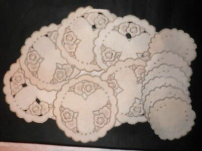 VINTAGE Embroidered Beige Linen Table Mat Set 6 Place Settings