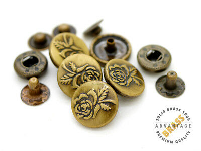 10sets Antique Brass Rose Bohemian Fasteners Popper Snaps Closure Flower Buttons