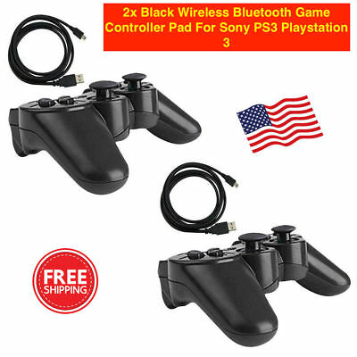 2x Black Wireless Bluetooth Game Controller Pad For Sony PS3 Playstation 3.