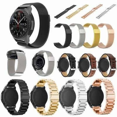 For Samsung Gear S3 Frontier Classic Stainless Steel &Genuine Leather Band Strap
