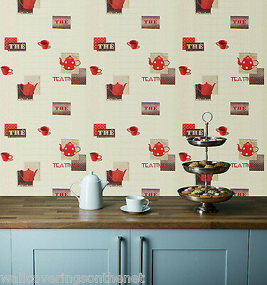 Red Teapots & Cups on a Cream Background, Washable Kitchen Wallpaper