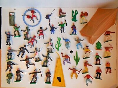 Vintage Timpo & other Swoppets Wild West Cowboys Indians Knights Tent WW2