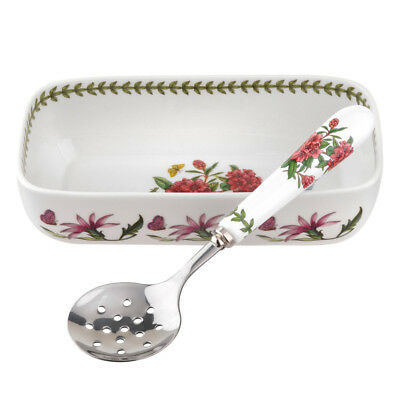 NEW Portmeirion Botanic Garden Sauce Dish with Slotted Spoon