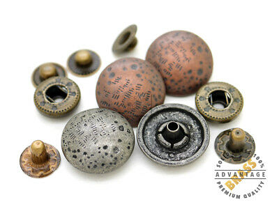 10sets 17mm Antique Moon Snap Fastener Closure Buttons Round Popper Snaps Decor