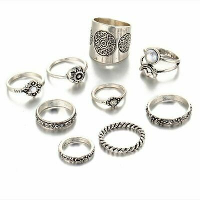 New 9 pcs/set Vintage Silver Color Ring Antique Midi Finger Rings for Women