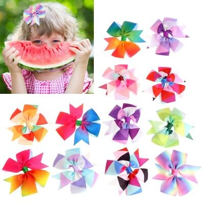 12Pcs Girls Baby Kid Hair Bows Hairpin Alligator Princess Ribbon Clip Grosgrain