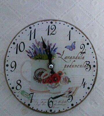 Vintage Wall Clock Table Clock Nostalgia Watch Country House Style Pot Lavender