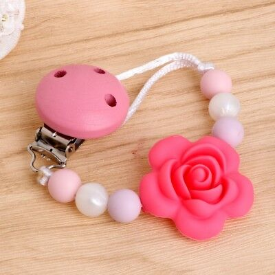 Baby Kids Silicone Chain Clip Holders Flower Pacifier Soother Nipple Leash Strap