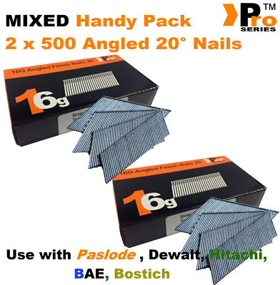 Mixed 16g ANGLED 20° Nails - 2 x 500 nail pack for Dewalt , Paslode , Hitachi 09