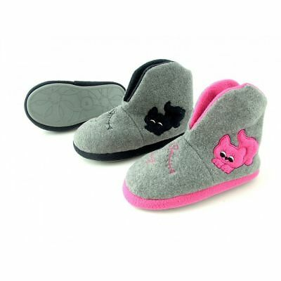 Junior Girls Soft Grey Warm Fleece Cute Kitten Motif Slipper Boots - Sizes 11-1