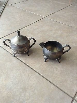Unmarked Silverplate Sugar and Covered Creamer Antique for teas set