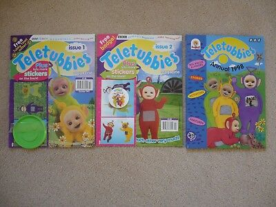 Teletubbies Annual 1998 + first and second ever Comics complete with free gifts