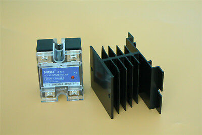 10A Solid State Relay SSR DC-AC Input 3-32V DC Load 24-480V ​AC w Heat Sink