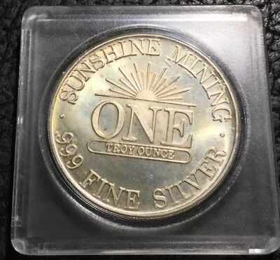 1985 Sunshine Mining w/ Doubling - 1 oz Silver Round - Light Toning.   INV#5860