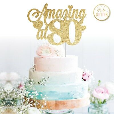 80th Cake Topper Number Any Age Birthday Glitter Gold Eighty 40 50 65 70 80
