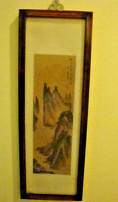 Vintage Chinese Watercolor Paintings On Silk  Mountians Scene Signed/sealed