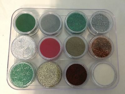 Christmas Xmas Embossing powders - Set of 12 - Silver, Gold, Red, Green, Copper