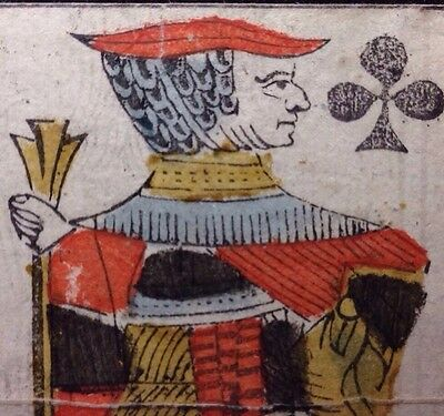 Authentic 18th Century Playing Card Knave Provence Single Woodcut Coloured +COA