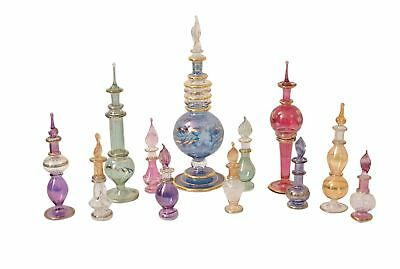Egyptian perfume bottles Mix Collection a Set of 12 hand Blown Decorative Pyrex