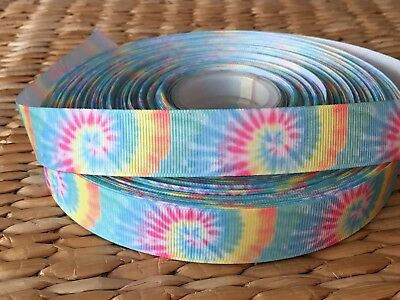 "1, 3 or 5 yards TIE DYE SUNBURST 7/8"" grosgrain ribbon- BUY MORE AND SAVE"