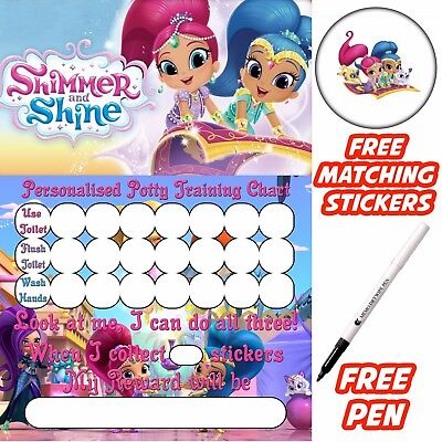 Shimmer & Shine Potty Training Toilet Reward Chart, free stickers, pen. MAGNETIC