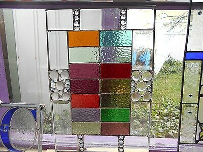 Beveled Frame With Open Jewels  Multicolored Clear Rippled Glass Art