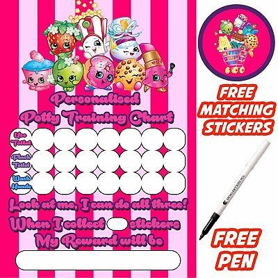 Shopkins Potty Training Toilet Reward Chart, free stickers, pen. MAGNETIC