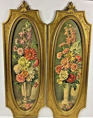 2 DART IND Early HOMCO WALL PLAQUES Floral Pictures Gold Frame 1964 Cecil Rubino