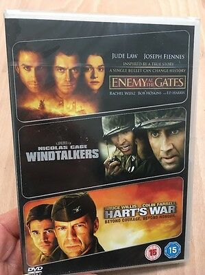 Enemy At The Gates/Windtalkers/Harts War(3xDVD R2)New+Sealed Ed Harris Jude Law