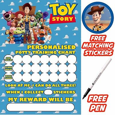 Toy Story Potty Training Toilet Reward Chart, free stickers, pen. MAGNETIC