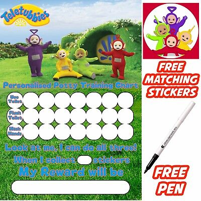 Teletubbies Potty Training Toilet Reward Chart, free stickers, pen. MAGNETIC
